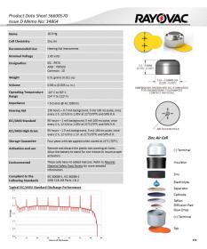 Батарейки для слухових апаратів Rayovac EXTRA 10 (6 шт)